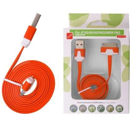KABEL USB iPHONE 3G/3Gs/4/4s plochý oranžový Global technology