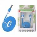KABEL USB microUSB plochý  modrý