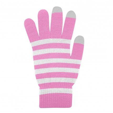 Dotykové rukavice Růžové+Bílé L size Ego mobile