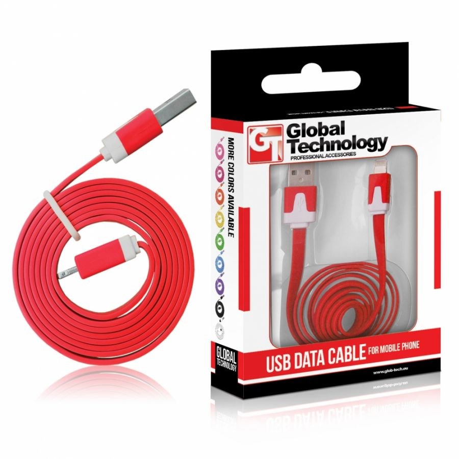 KABEL USB iPHONE 5c/5s (8-pin) iOS 7 - plochý - cervený Global Technology