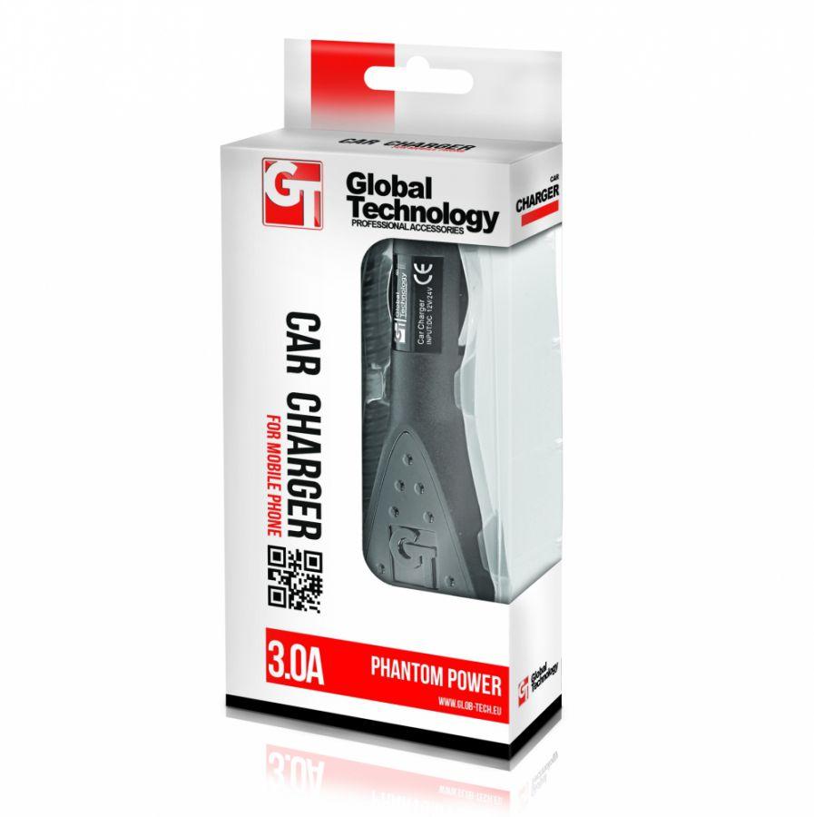 Nabíječka mobilního telefonu GT PHANTOM microUSB 3A do auta Global Technology