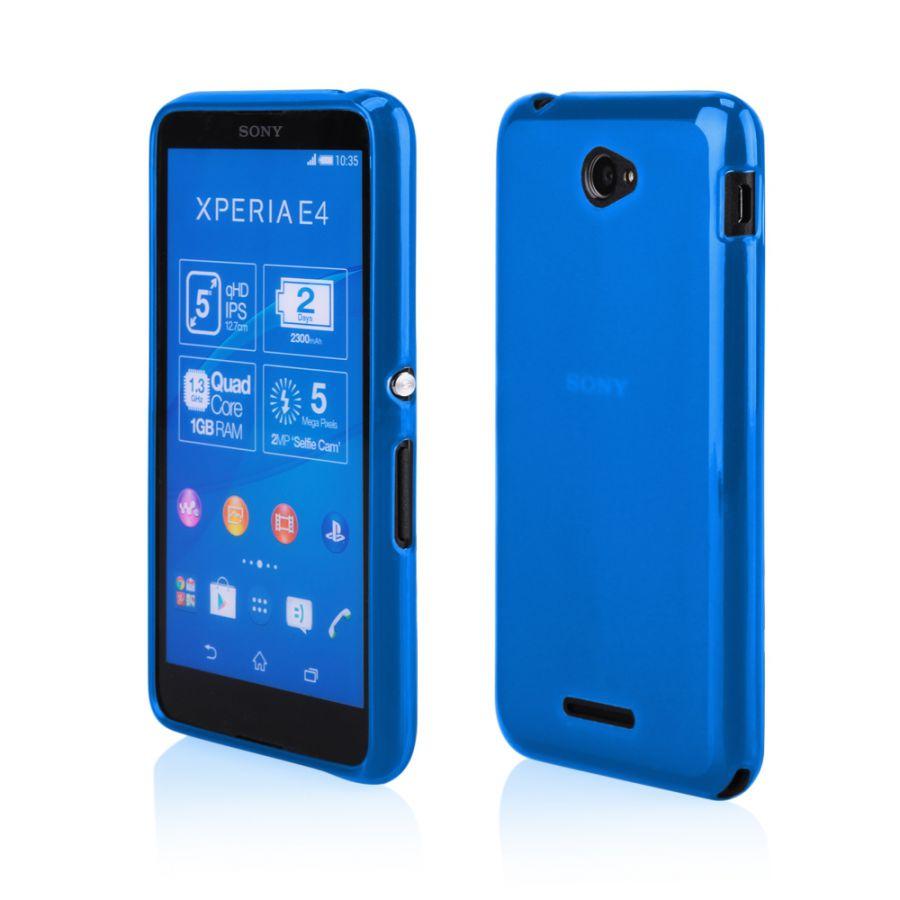 Pouzdro na Sony Xperia E4 - FROSTED (zadní kryt) - modré Jelly Case
