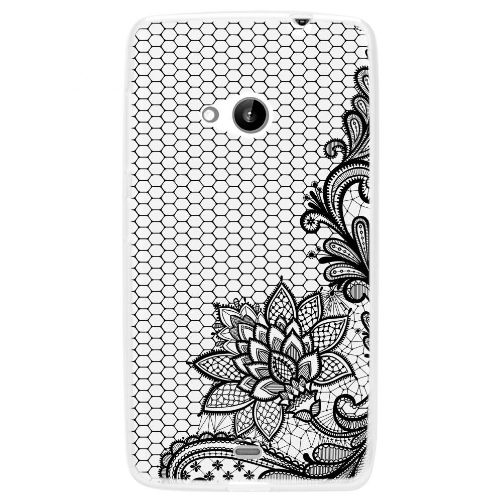 """POUZDRO na Microsoft 535 Lumia - CASE """"LACE"""" (zadní kryt) - černý květ Ego Mobile"""