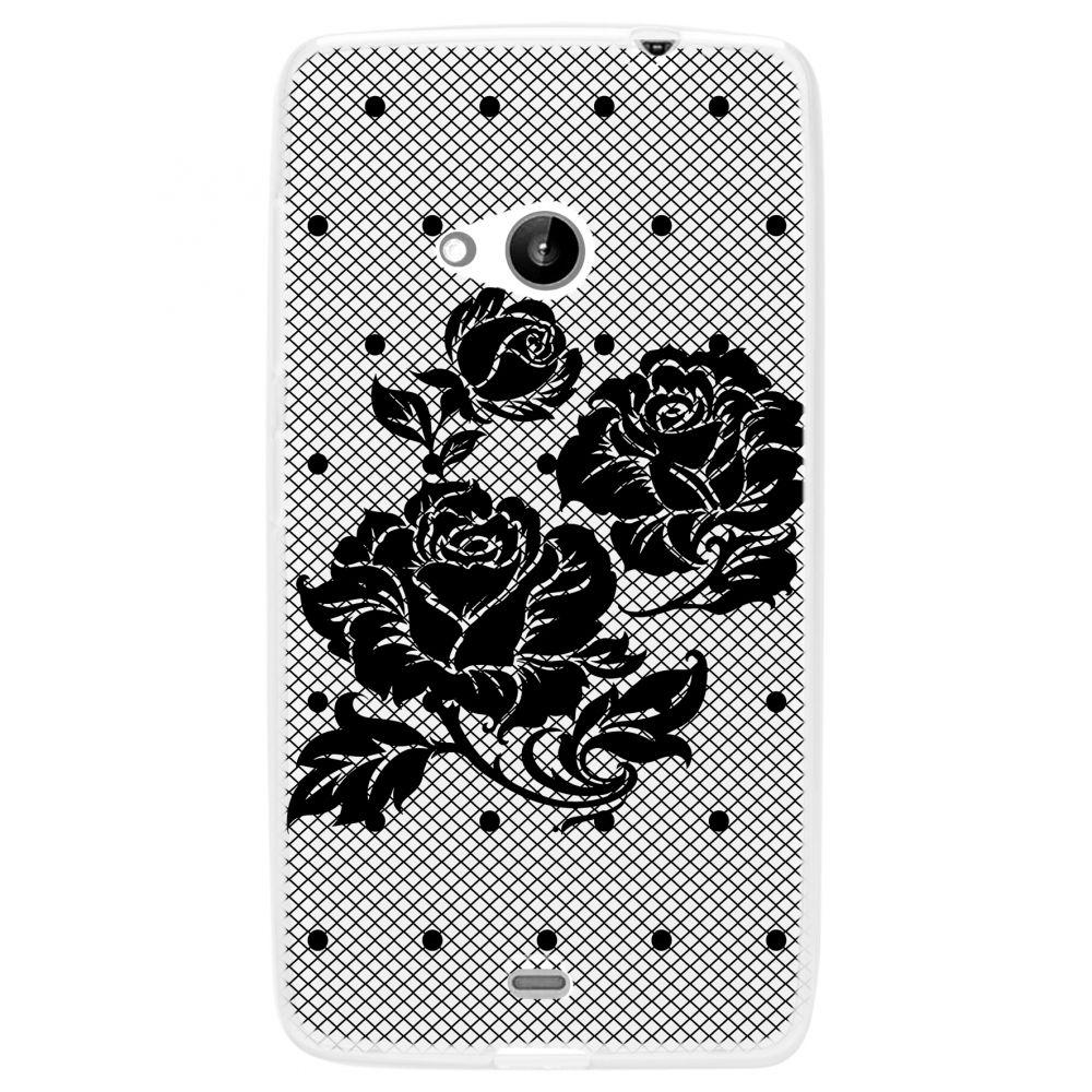 """POUZDRO na Mcrosoft 535 Lumia - CASE """"LACE"""" (zadní kryt) - černá růže Ego Mobile"""