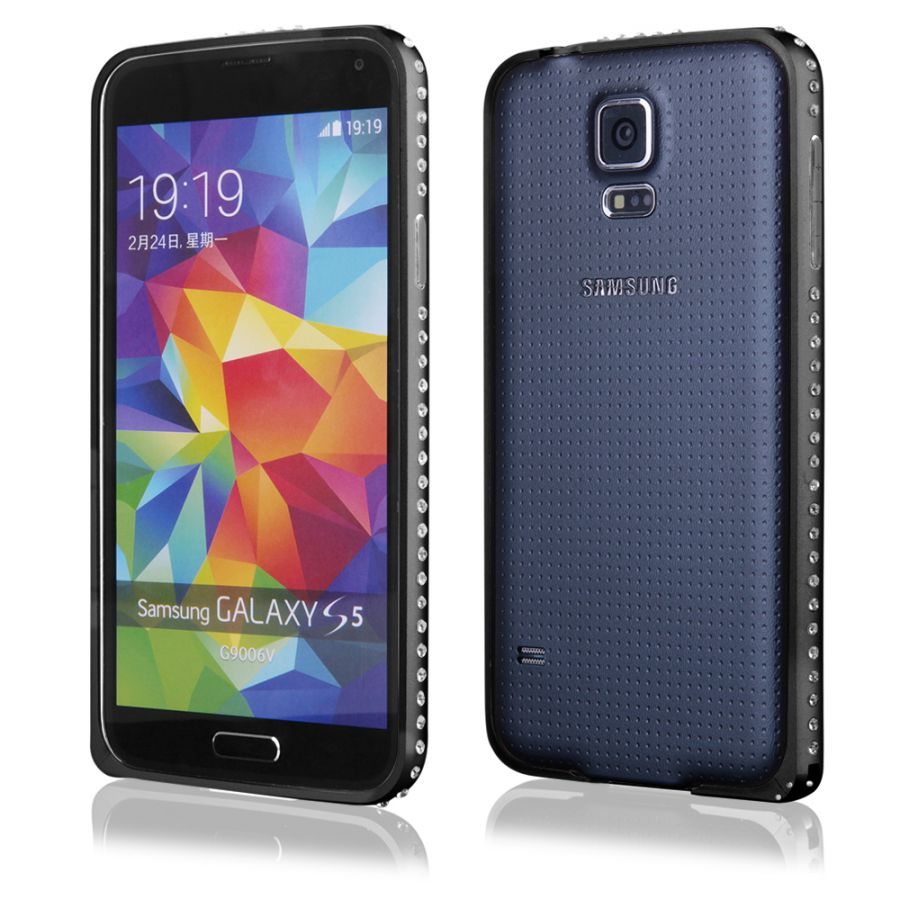 Pouzdro na Samsung G900 S5 - Bumper metal - Zirconia - černé QULT Case