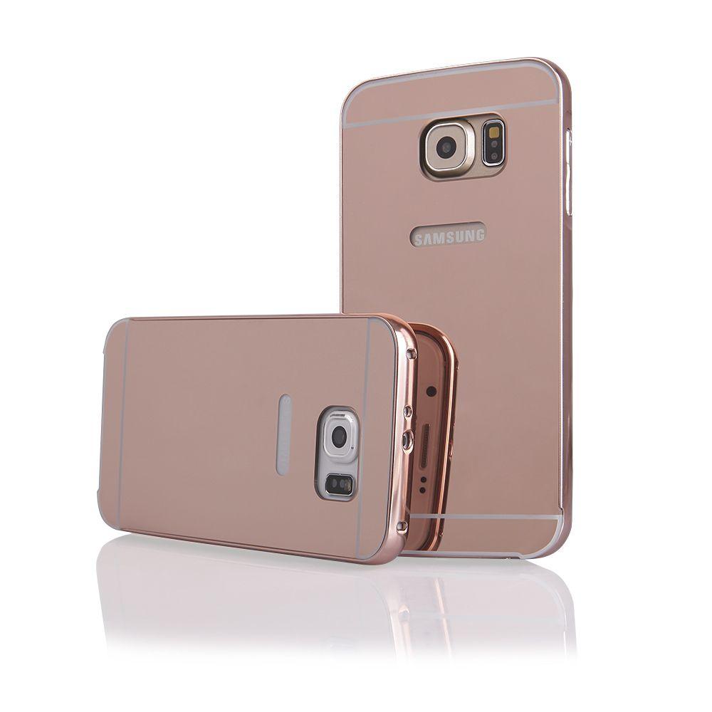 Pouzdro na Samsung G920 S6 - LUXURY+GLASS MIRROR - zlatorůžové QULT Case