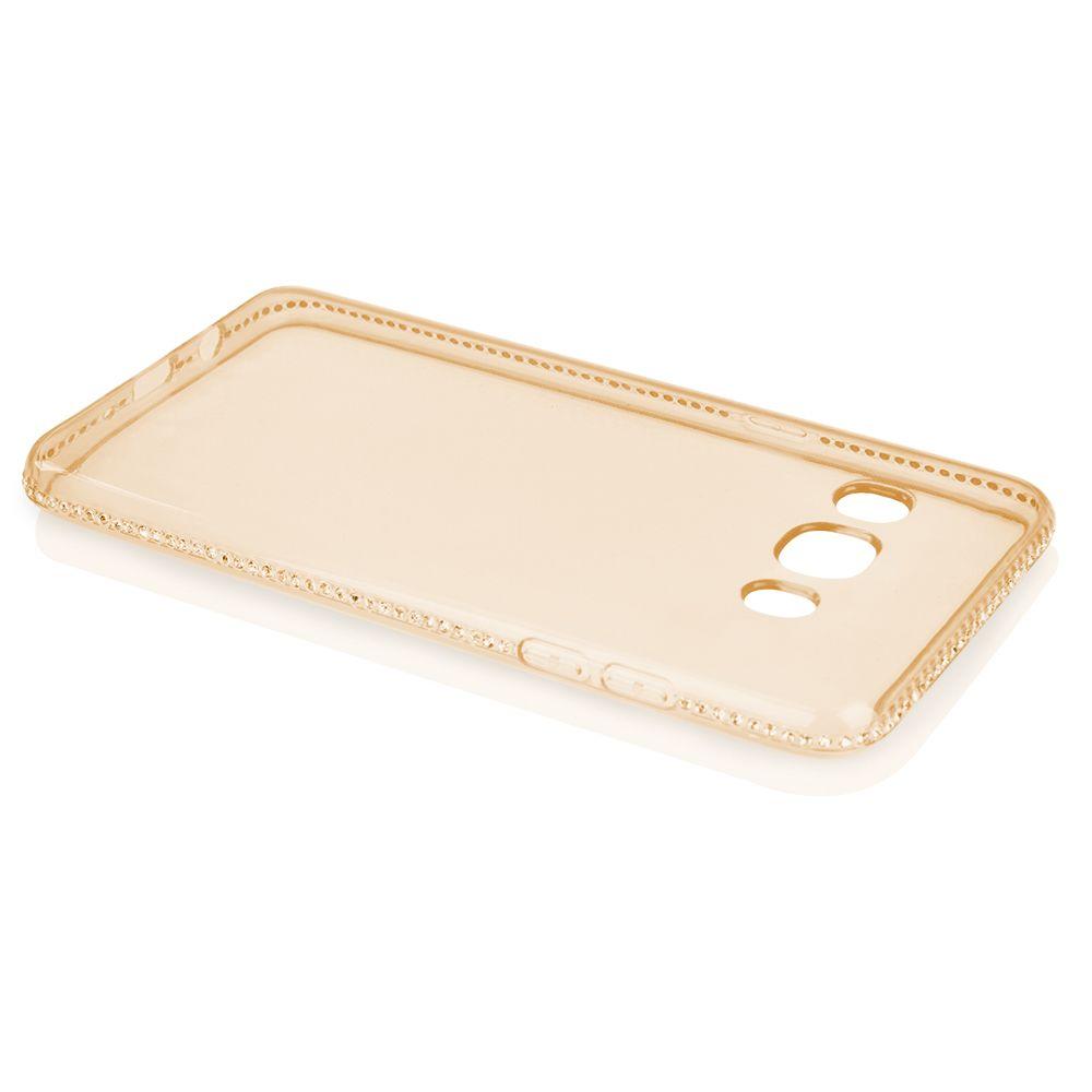 Pouzdro na Samsung J5 J510 2016 - Crystals jelly - zlaté QULT Case