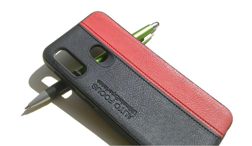 Pouzdro Autofocus na Samsung A20e kožené - černo-červené