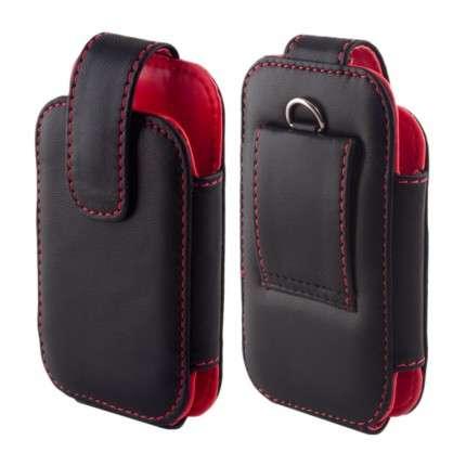 """POUZDRO na Samsung i9000 -""""Leather Collection"""" - vertikální (černé uvnitř červené) EGO Mobile"""